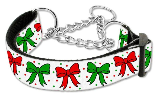 MARTINGALE DOG COLLARS: Nylon Ribbon Dog Collar CHRISTMAS BOWS - Matching Leash Sold Separately