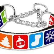 MARTINGALE DOG COLLARS: Nylon Ribbon Dog Collar CLASSIC CHRISTMAS - Matching Leash Sold Separately