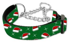 Martingale Dog Collars: CHRISTMAS SANTA'S HATS Nylon Ribbon Dog Collar Mirage Pet Products USA
