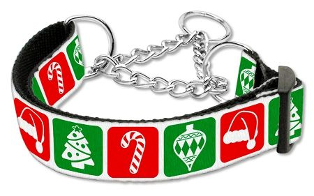 MARTINGALE DOG COLLARS: TIMELESS CHRISTMAS Nylon Ribbon Dog Collar - Matching Leash Sold Separately
