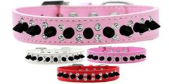 "Spike Dog Collars: Beautiful Double Clear Crystals & Black Spikes on 3/4"" Wide Dog Collar"
