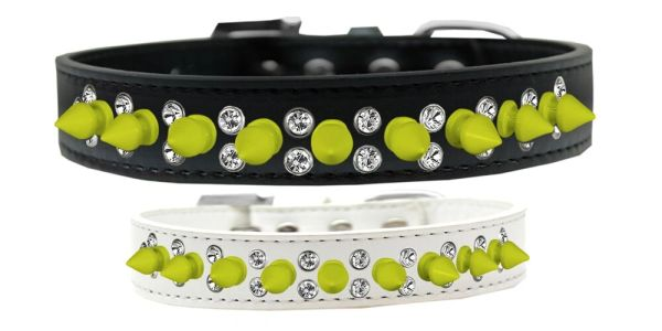 "Spike Dog Collars: Beautiful Double Row Clear Crystals & Row Neon Yellow Spikes on 3/4"" Wide Dog Collar in 5 Sizes and 2 Colors"