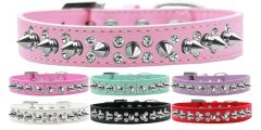 "Spike Dog Collars: Beautiful Double Row Clear Crystals & Row Silver Spikes on 3/4"" Wide Dog Collar"