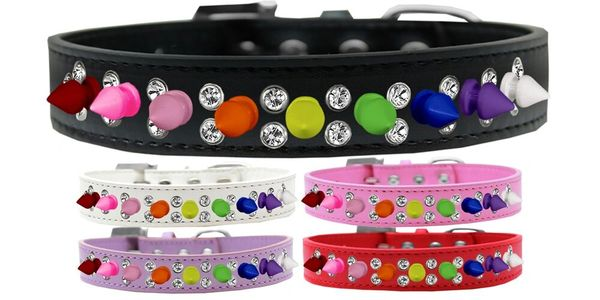 "Spike Dog Collars: Unique Double Row Clear Crystals & Row Rainbow Spikes on 3/4"" Wide Dog Collar"