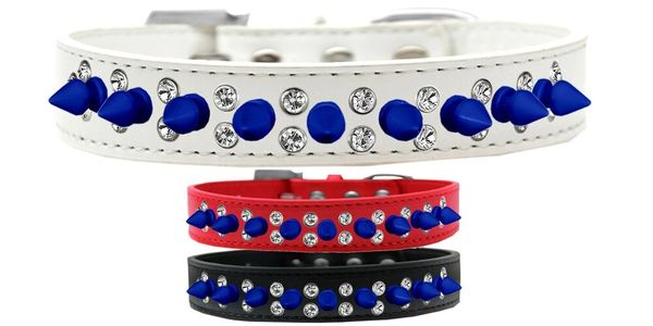 "Spike Dog Collars: Unique Double Row Clear Crystals with Blue Spikes on 3/4"" Wide Dog Collar in Various Sizes & Colors"