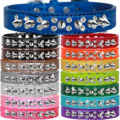 """Spike Dog Collars: Unique 3/4"""" Wide Croc Collar with Double Row Clear Crystals with Durable Silver Spikes"""