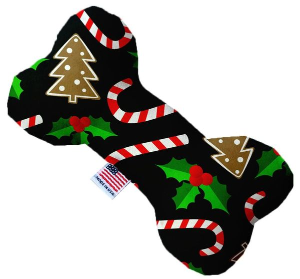 PET TOYS: Soft Durable Fabric or Canvas Bone Shape Pet Toy CANDY CANE CHAOS in 3 Sizes Made in USA by MiragePetProducts