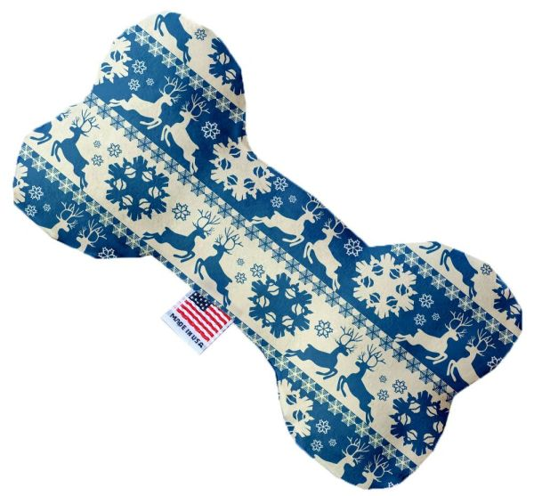 PET TOYS: Soft Durable Fabric or Canvas Bone Shape Pet Toy BLUE REINDEER in 3 Sizes Made in USA by MiragePetProducts