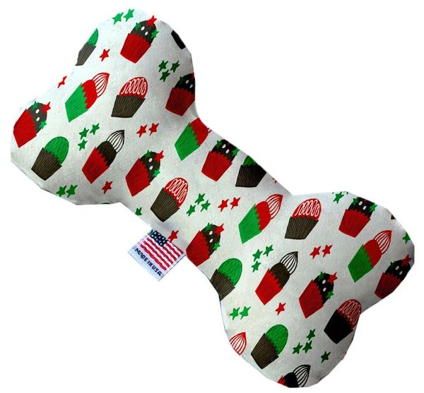 PET TOYS: Soft Durable Fabric or Canvas Bone Shape Pet Toy CHRISTMAS CUPCAKES in 3 Sizes Made in USA by MiragePetProducts