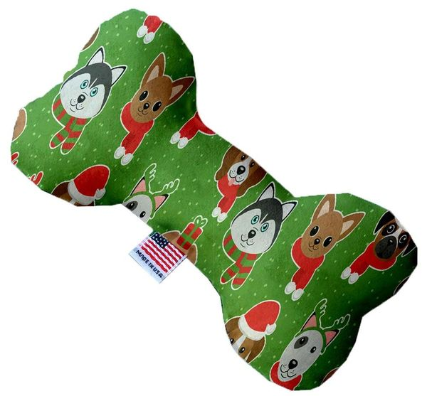PET TOYS: Soft Durable Fabric or Canvas Bone Shape Pet Toy CHRISTMAS DOGS in 3 Sizes Made in USA by MiragePetProducts