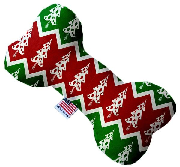 PET TOYS: Soft Durable Fabric or Canvas Bone Shape Pet Toy CHEVRON CHRISTMAS TREES in 3 Sizes Made in USA by MiragePetProducts