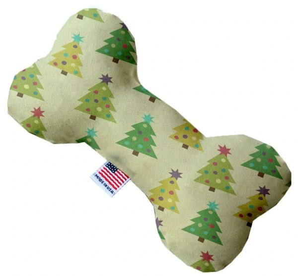 PET TOYS: Soft Durable Fabric or Canvas Bone Shape Pet Toy CUTESY CHRISTMAS TREES in 3 Sizes Made in USA by MiragePetProducts