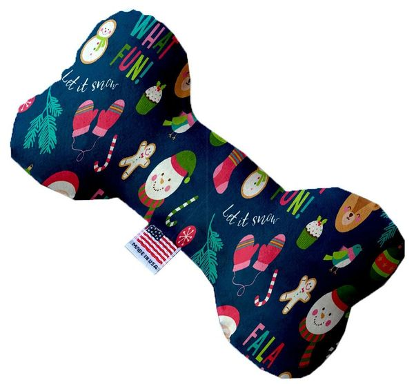 PET TOYS: Durable Fabric/Canvas Bone Shape Pet Toy CHRISTMAS PARTY in 3 Sizes Made in USA by MiragePetProducts