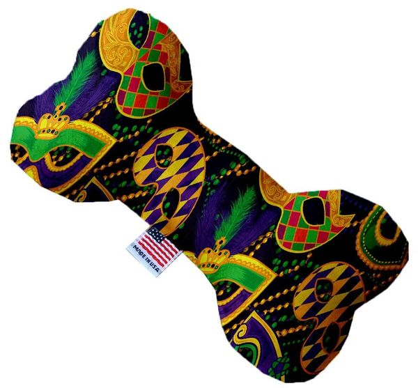 PET TOYS: Durable Fabric/Canvas Bone Shape Pet Toy MARDI GRAS MASQUERADE in 3 Sizes Made in USA by MiragePetProducts