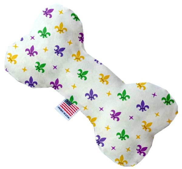PET TOYS: Durable Fabric/Canvas Bone Shape Pet Toy CONFETTI FLEUR DE LIS in 3 Sizes Made in USA by MiragePetProducts
