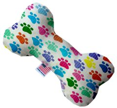 PET TOYS: Durable Fabric/Canvas Bone Shape Pet Toy CONFETTI PAWS in 3 Sizes Made in USA by MiragePetProducts