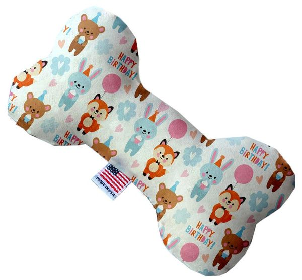 PET TOYS: Durable Fabric/Canvas Bone Shape Pet Toy BIRTHDAY BUDDIES in 3 Sizes Made in USA by MiragePetProducts