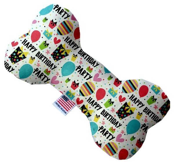 PET TOYS: Durable Fabric/Canvas Bone Shape Pet Toy HAPPY BIRTHDAY in 3 Sizes Made in USA by MiragePetProducts
