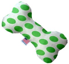 PET TOYS: Durable Fabric/Canvas Bone Shape Pet Toy WHITE & GREEN DOTTED in 3 Sizes Made in USA by MiragePetProducts