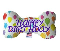 PET TOYS: Durable Fluffy Fabric Bone Shape Pet Toy HAPPY BIRTHDAY BALLOONS in 3 Sizes Made in USA by MiragePetProducts