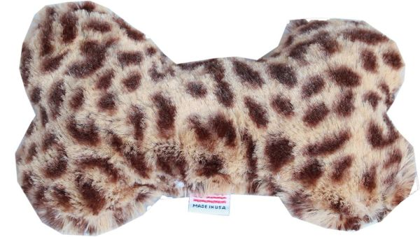 "PET TOYS: Plush Fabric 6"" Bone Shape Pet Toy CHEETAH Made in USA by MiragePetProducts"