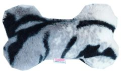 "PET TOYS: Plush Fabric 6"" Bone Shape Pet Toy SIBERIAN TIGER Made in USA by MiragePetProducts"