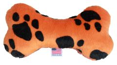"PET TOYS: Plush Fabric 6"" Bone Shape Pet Toy ORANGE PAW Made in USA by MiragePetProducts"