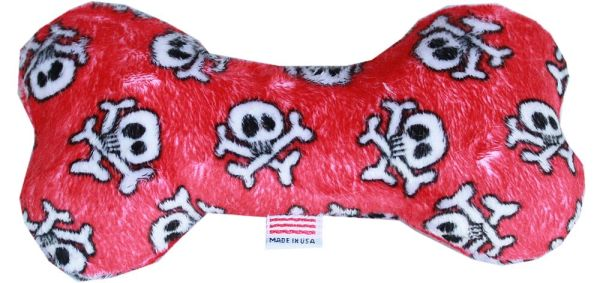 "PET TOYS: Plush Fabric 6"" Bone Shape Pet Toy RED SKULL Made in USA by MiragePetProducts"