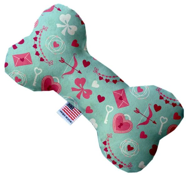 PET TOYS: Stuffing Free Plush Bone Shape Pet Toy with Squeakers CUPID'S LOVE in 3 Sizes MiragePetProducts