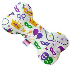 PET TOYS: Stuffing Free Plush Bone Shape Pet Toy with Squeakers MARDI GRAS MASKS in 3 Sizes Made in USA by MiragePetProducts
