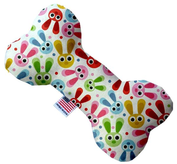 PET TOYS: Stuffing Free Plush Bone Shape Pet Toy with Squeakers FUNNY BUNNY in 3 Sizes MiragePetProducts