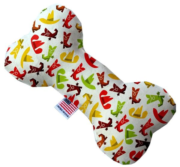 PET TOYS: Stuffing Free Plush Bone Shape Pet Toy with Squeakers COWBOYS in 3 Sizes MiragePetProducts