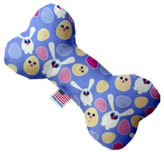 PET TOYS: Stuffing Free Plush Bone Shape Pet Toy with Squeakers CHICKS AND BUNNIES in 3 Sizes Made in USA by MiragePetProducts