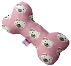 PET TOYS: Stuffing Free Plush Bone Shape Pet Toy with Squeakers PINK BEARS & BOWS in 3 Sizes Made in USA by MiragePetProducts