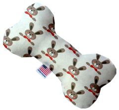 PET TOYS: Stuffing Free Plush Bone Shape Pet Toy with Squeakers DRAPPER RABBITS in 3 Sizes Made in USA by MiragePetProducts