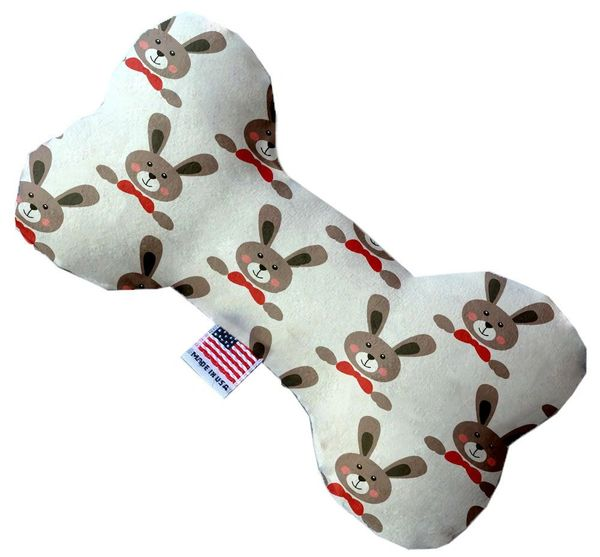 PET TOYS: Stuffing Free Plush Bone Shape Pet Toy with Squeakers DRAPPER RABBITS in 3 Sizes MiragePetProducts