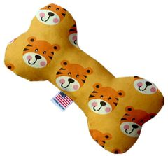 PET TOYS: Stuffing Free Plush Bone Shape Pet Toy with Squeakers TALLY THE TIGER in 3 Sizes Made in USA by MiragePetProducts