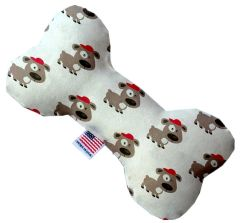 PET TOYS: Stuffing Free Plush Bone Shape Pet Toy with Squeakers FRESH PUPS in 3 Sizes Made in USA by MiragePetProducts