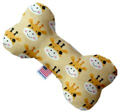 PET TOYS: Stuffing Free Plush Bone Shape Pet Toy with Squeakers GEORGIE THE GIRAFFE in 3 Sizes Made in USA by MiragePetProducts