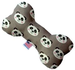 PET TOYS: Stuffing Free Plush Bone Shape Pet Toy with Squeakers PANDAS in 3 Sizes/3 Patterns Made in USA by MiragePetProducts