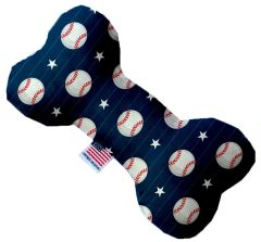 PET TOYS: Stuffing Free Plush Bone Shape Pet Toy with Squeakers BASEBALL PINSTRIPES in 3 Sizes Made in USA by MiragePetProducts