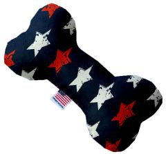 PET TOYS: Stuffing Free Plush Bone Shape Pet Toy with Squeakers GRAFFITI STARS in 3 Sizes Made in USA by MiragePetProducts