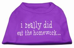 Dog Shirts: I REALLY DID EAT THE HOMEWORK Screen Print Dog Shirt in Various Colors & Sizes by Mirage