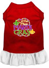 DOG DRESSES: Screen Print Dress LITTLE MISS MARDI GRAS Poly/Cotton with Ruffle trim Various sizes & Colors by MiragePetProducts