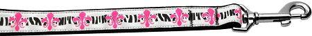 Nylon Dog Leashes: Pink Fleur de Lis Nylon Dog Leash Mirage Pet Products USA