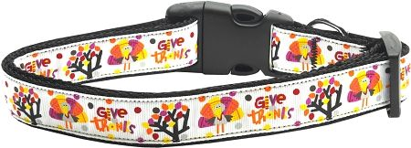 Holiday Nylon Dog Collars: Nylon Ribbon Collar GIVE THANKS MiragePetProducts - Matching Leash Sold Separately