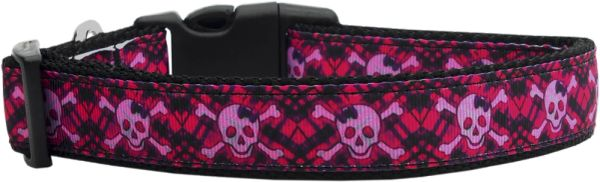 Holiday Dog Collars: Nylon Ribbon Collar HOT PINK PLAID SKULLS - Matching Leash Sold Separately