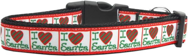 Holiday Dog Collars: Nylon Ribbon Dog Collar I (HEART) SANTA - Matching Leash Sold Separately