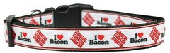 Dog Collars: Nylon Ribbon Collar by Mirage Pet Products - I (HEART) BACON
