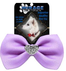 DOG BOW TIE: Crystal Heart Widget Pet Bow Tie in 13 Different Colors by MiragePetProducts